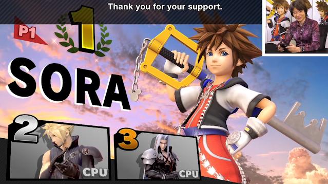 Masahiro Sakurai Sora victory screen Cloud Sephiroth Super Smash Bros. Ultimate