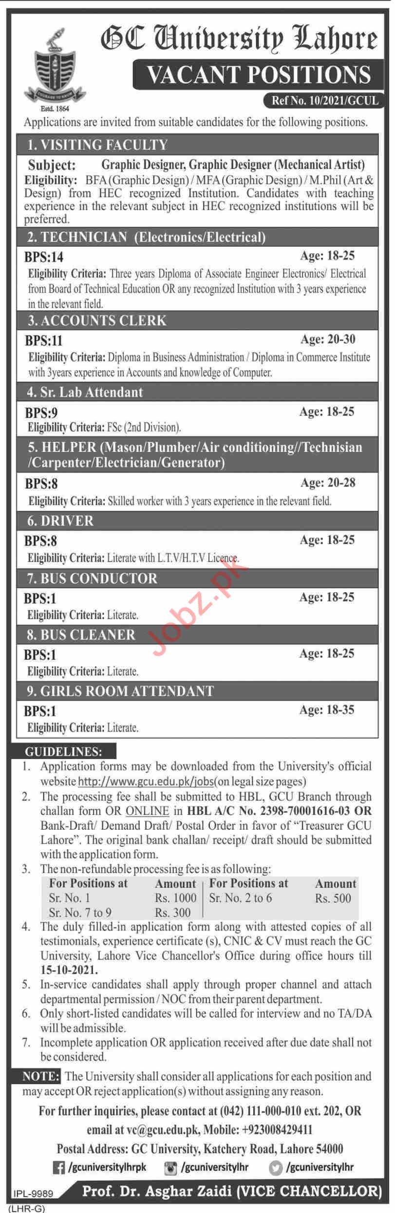 Jobs in GC University Lahore