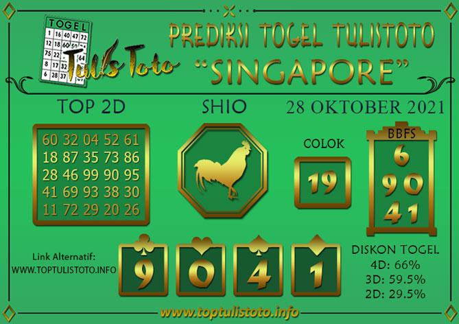 Prediksi Togel SINGAPORE TULISTOTO 28 OKTOBER 2021