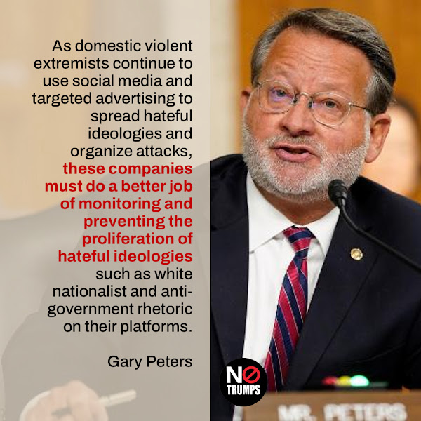 As domestic violent extremists continue to use social media and targeted advertising to spread hateful ideologies and organize attacks, these companies must do a better job of monitoring and preventing the proliferation of hateful ideologies such as white nationalist and anti-government rhetoric on their platforms. — Sen. Gary Peters (D-MI), the chair of the Senate Homeland Security Committee