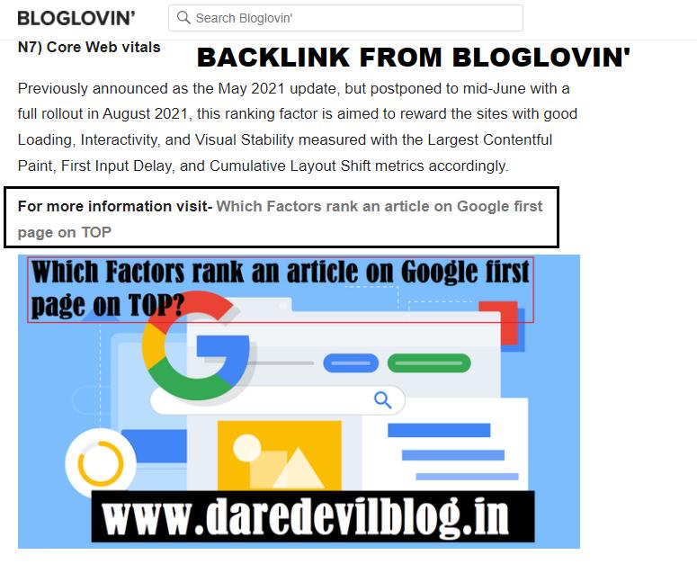 Backlink From Bloglovin