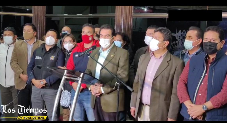 Conferencia de prensa del alcalde cochabambino tras la extensa audiencia de este jueves / LOS TIEMPOS