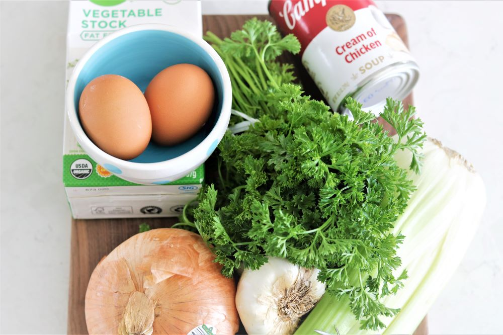 cream-of-chicken-soup-parsley-croutons-eggs-sausage-easy-delicious