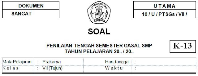 Soal Dan Kunci Jawaban PTS Prakarya Kelas 7 SMP