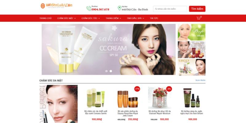 Mẫu website bán hàng mỹ phẩm đẹp