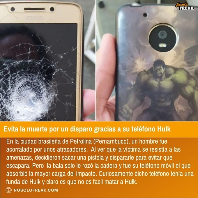 Evita la muerte por un disparo gracias a su teléfono Hulk