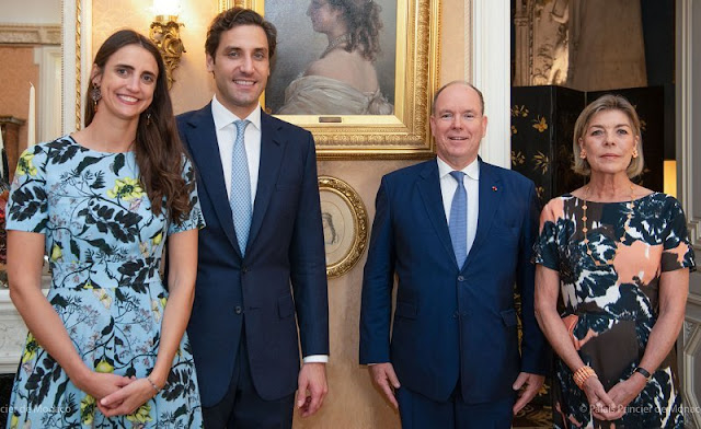 Princess Caroline wore a coral floral print dress from Dries Van Noten. Countess Olympia von Arco-Zinneberg