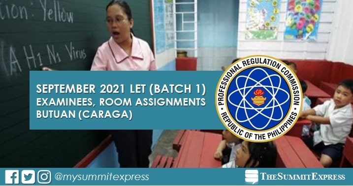 September 2021 LET: Butuan Examinees, Room Assignments