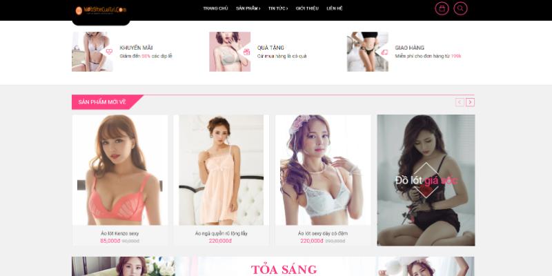 Mẫu website bán hàng thời trang sexy