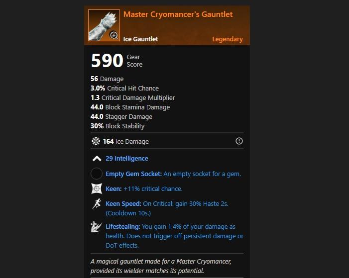 Master Cryomancer's Gauntlet (Ice Gauntlets)