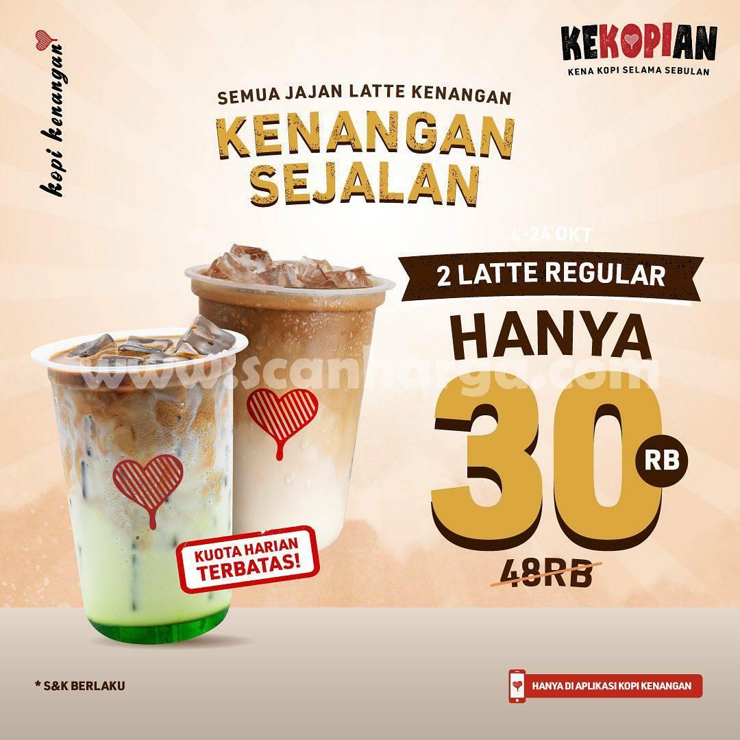 Kopi Kenangan Promo Kenangan Sejalan – Beli 2 Latte Regular Hanya Rp. 30RB