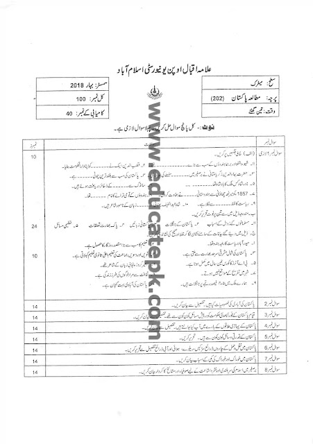 AIOU Old Paper 202 Spring 2018