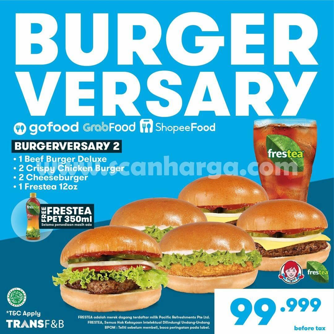 Promo WENDYS BURGERVERSARY Harga cuma 99 Ribu untuk 5 Burger 1