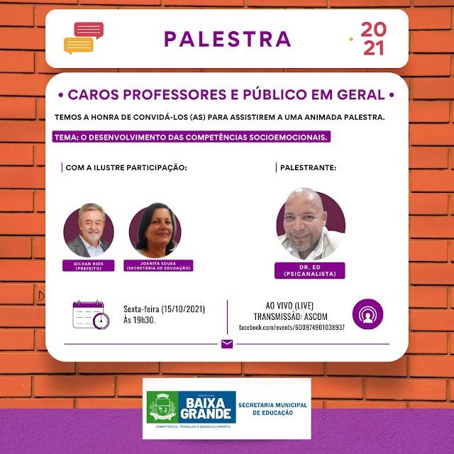 Prefeitura de Baixa Grande promoverá palestra sobre competências emocionais