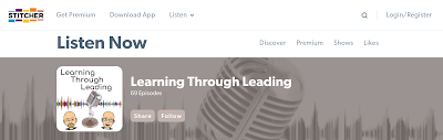 Screenshot showing Learning Through Leading logo on Stitcher website