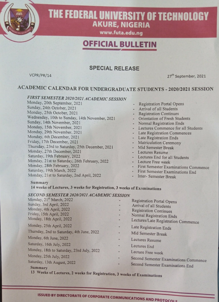 FUTA Approved Academi Calendar 2020/2021 -FutaNewsandGist