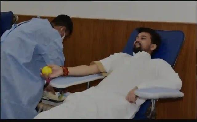Union Minister Anurag Thakur, Territorial Army DG donate blood on TA's Raising Day