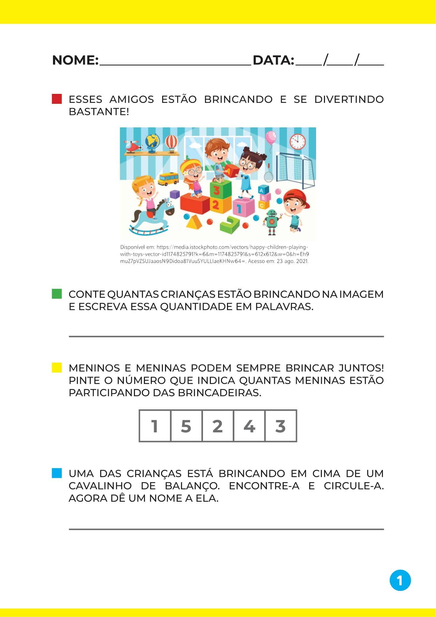 Atividade relacionar números às suas respectivas quantidades - Educação Infantil