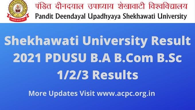 PDUSU Shekhawati University Result 2021 BA B.Sc B.com MA M.Sc M.com Results 2021