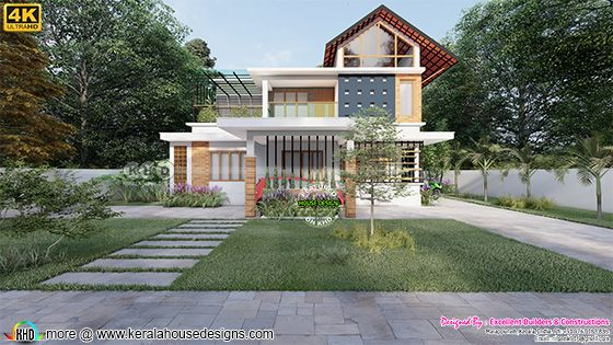 Front elevation of mixed roof style home front design