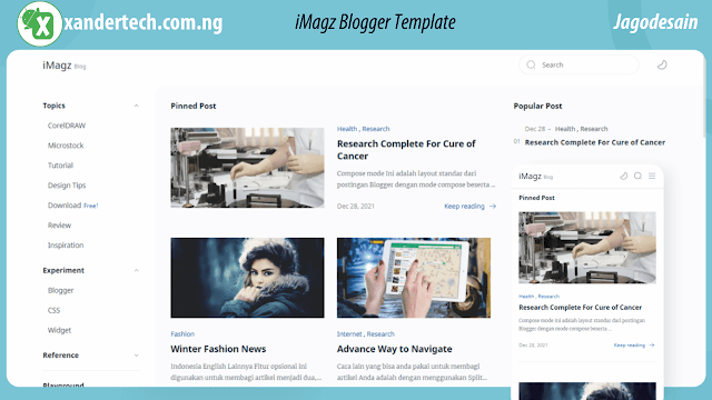 Download iMagz Blogger Template + 10 Landing Pages + All Additional Codes