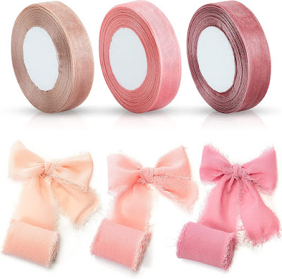 Pink Green Chiffon Ribbons for DIY Crafts and Party Decorations