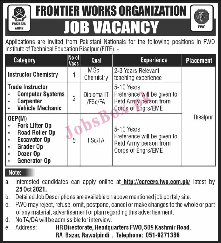careers.fwo.com.pk - FWO Frontier Works Organization Jobs 2021 in Pakistan