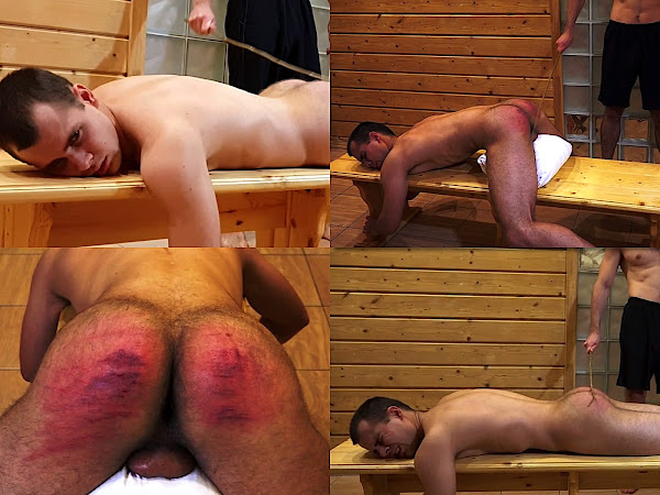 #RusStraightGuys - Belt and cane boy spanking – Mark 19 y.o.