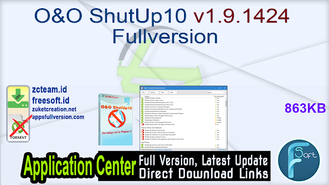 O&O ShutUp10 v1.9.1424 Fullversion