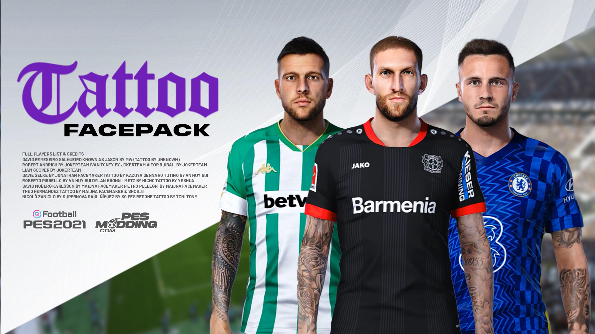 PES 2021 Tattoo Facepack (14 Faces) Sider And CPK Version