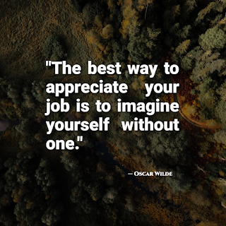 The best way to appreciate your job is to imagine yourself without one - Oscar Wilde