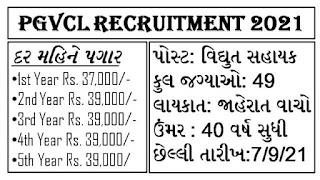 PGVCL Vidyut Sahayak Recruitment 2021 @pgvcl.com