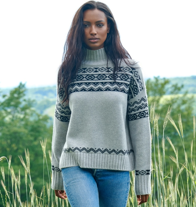 NAKEDCASHMERE features Lucy turtleneck sweater in NAKED in October 2021 campaign