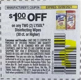 """$1/2 Lysol Disinfecting Wipes 30ct+ Coupon from """"Smartsource"""" insert week of 9/12/21."""