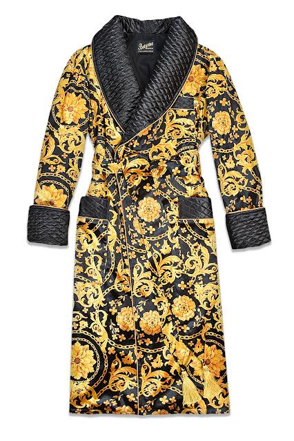 mens dressing gown silk velvet gold black smoking jacket robe