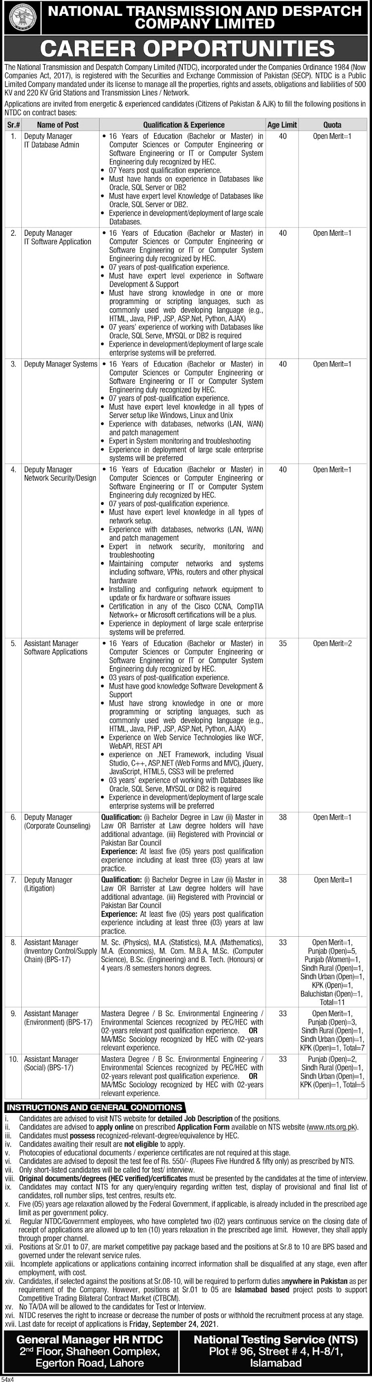 National Transmission and Dispatch Company NTDC Latest Jobs 2021