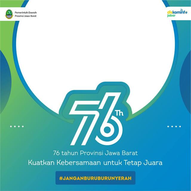 Desain Template Background Frame Bingkai Twibbon Peringatan Ulang Tahun ke-76 Provinsi Jawa Barat 2021