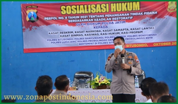 Tambah Wawasan Penanganan Tindak Pidana, Bidkum Polda Jatim Sosialisasi di Polres Situbondo