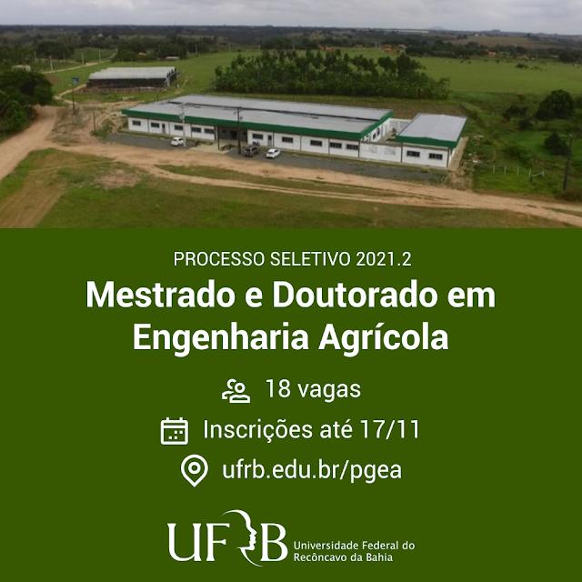 UFRB abre seleção para mestrado e doutorado em Engenharia Agrícola