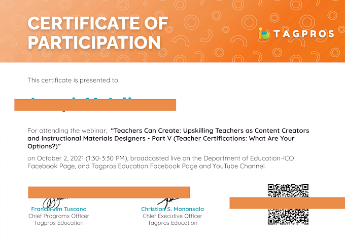 October 2 | Tagpros Certificate of Participation is now Ready for Download! | Be informed!