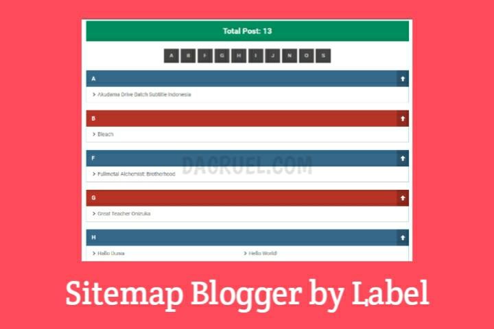Sitemap Blogger Berdasarkan Label Tertentu