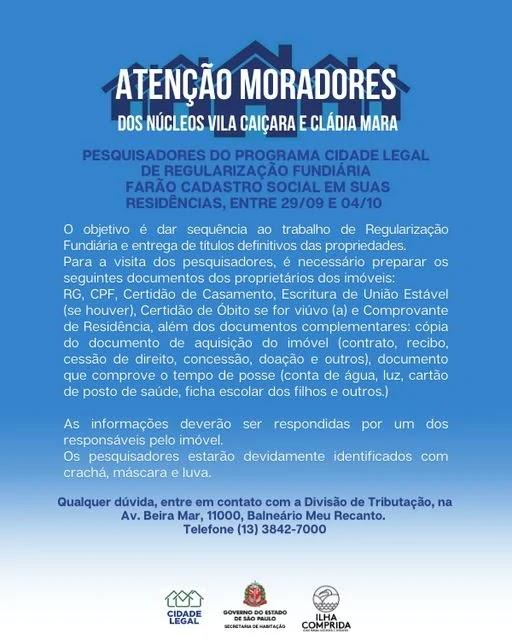 Programa Cidade Legal farão cadastro social dos moradores da vila Caiçara e Cláudia Mara na Ilha