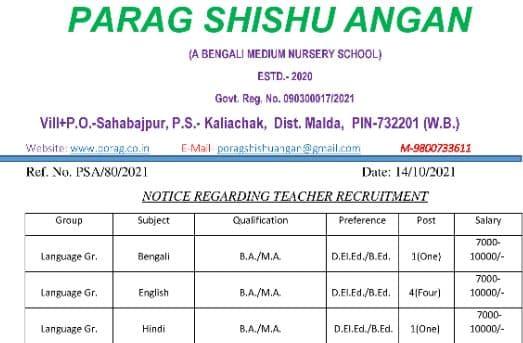 Bengali Teacher Recruitment In West Bengal 2021-2022 New Notification
