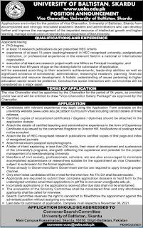 University of Baltistan Vice Chancellor jobs 2021 Details