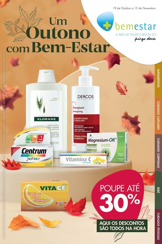 """Folheto PINGO DOCE - """"Um Outono com Bem-Estar"""" com promoções e descontos de 19 de outubro a 15 de novembro"""