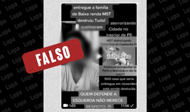 É falso vídeo compartilhado por Bolsonaro que acusa MTST de destruir casas populares em Santa Cruz do Capibaribe