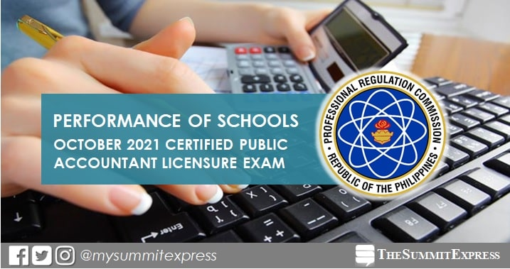 CPALE RESULT: October 2021 CPA board exam performance of schools