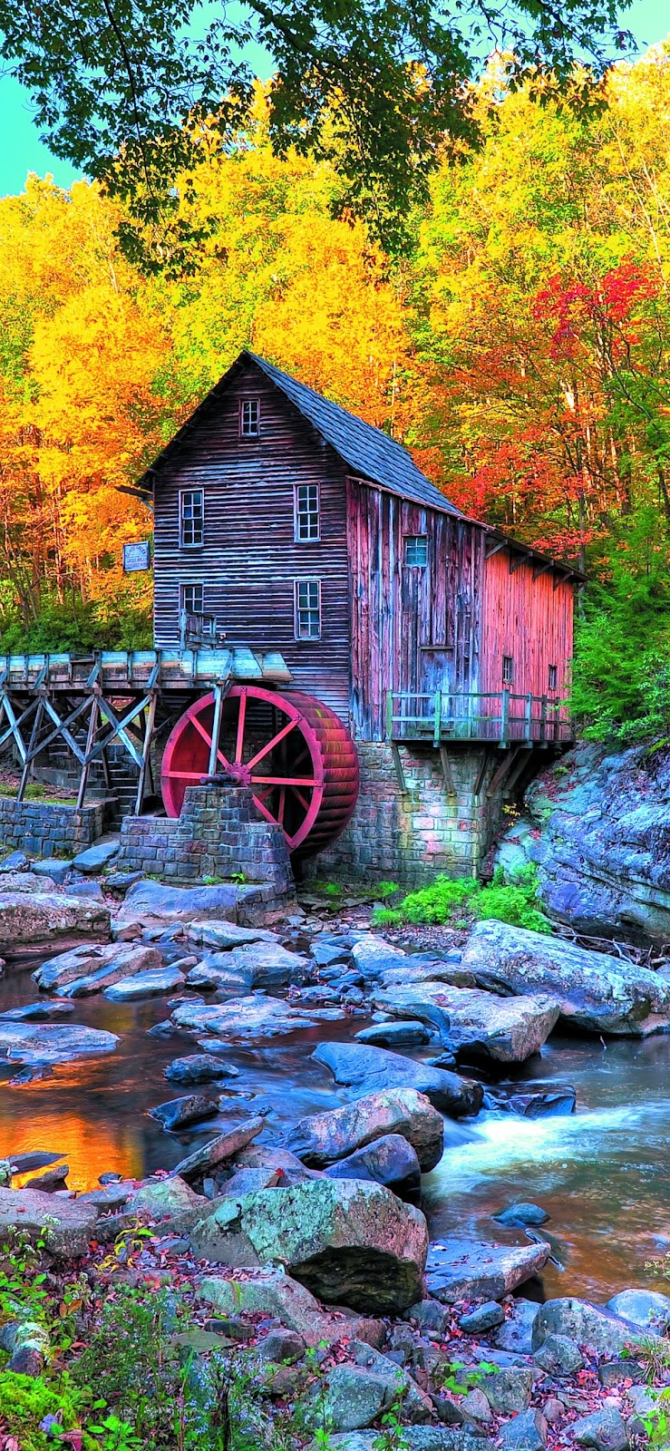 Grist Mill in Autumn mobile wallpaper