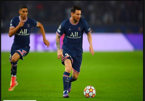 Messi reacts to PSG's 3-2 triumph against RB Leipzig in the Champions League.