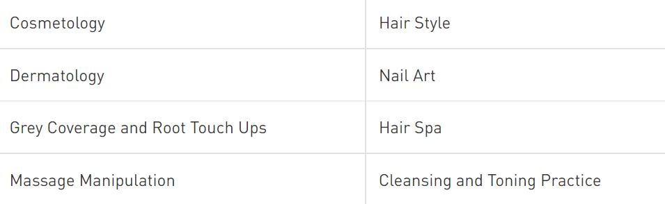 beauty parlour course syllabus